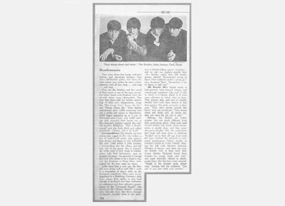 1963 Newsweek Beatles clipping