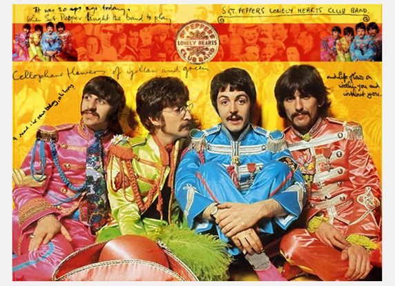 The Beatles in Sgt. Peppers uniforms